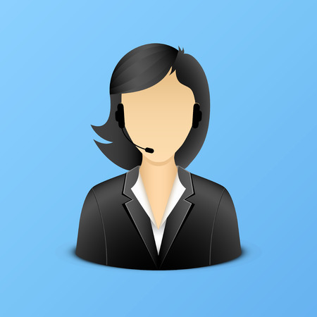 call center agent: Support woman assistant illustration
