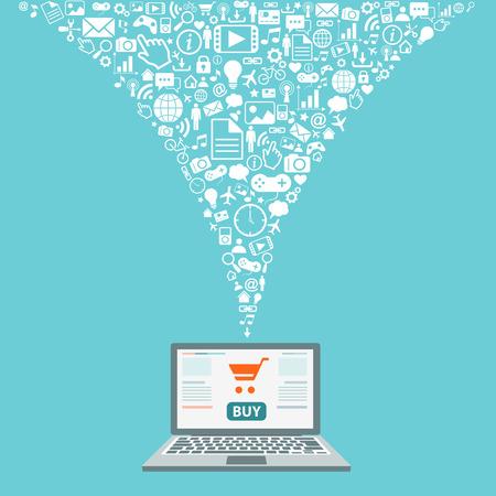 Flat design illustration with icons. Internet shopping.