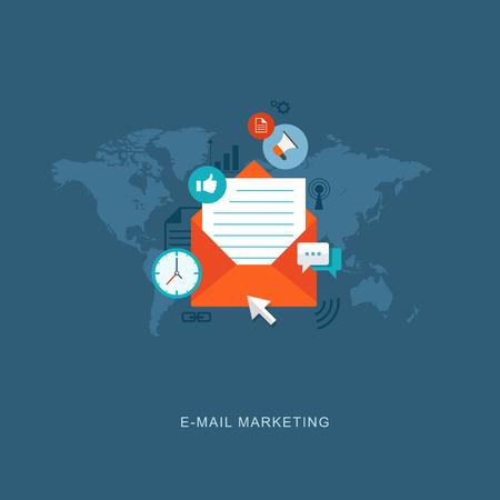 Flat design illustration with icons. E-mail marketing.  Illustration