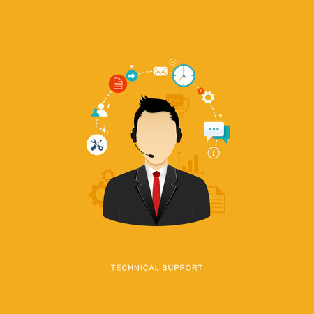 telemarketer: Flat design illustration with icons. Technical support assistant.   Illustration