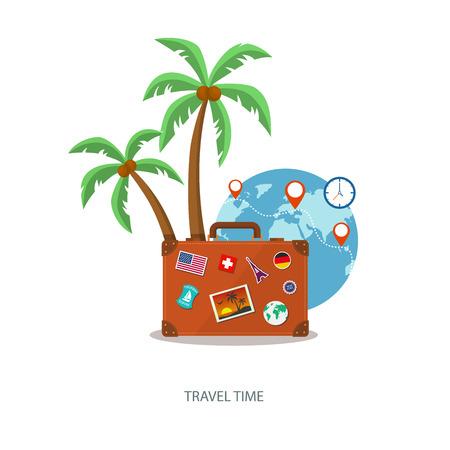 palmtrees: Maleta de viaje con palmeras.
