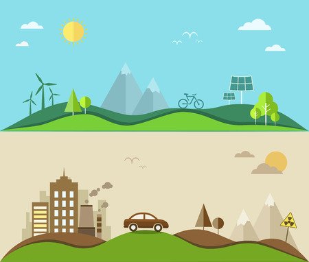 Nature saving and pollution flat illustration. Vector