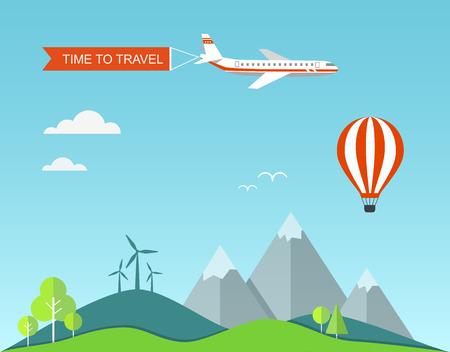 Travel flat illustration with landscape. Vector