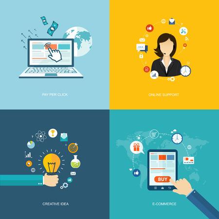 Flat internet banners set. Online support, creative idea, e-commerce, pay per click illustrations. Illustration