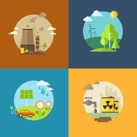 Ecology and pollution flat banners set with icons.  Ilustrace