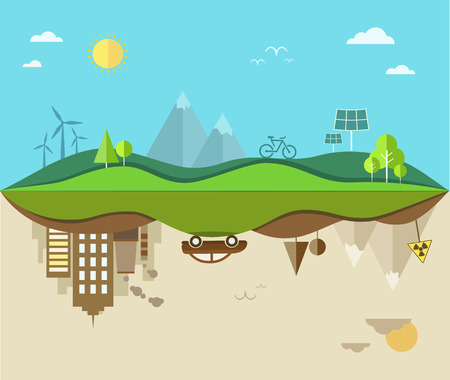 save energy icons: Nature saving and pollution flat illustration. Illustration
