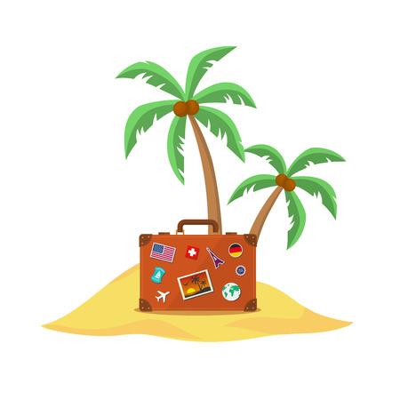 palmtrees: Maleta de viaje con palmeras. Eps 10 ilustraci�n