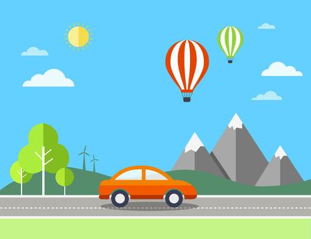 touring car: Travel illustration with landscape.