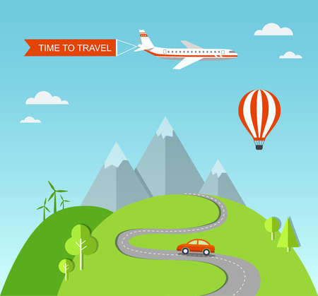 Travel illustration with landscape. Vector