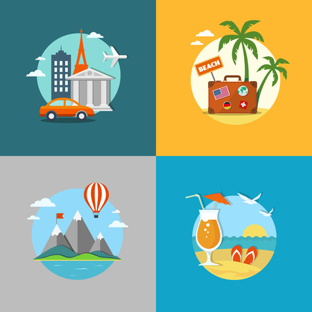 Travel and beach flat banners set with icons. Illustration
