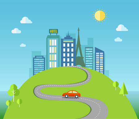 Travel flat illustration with urban landscape.  Vector