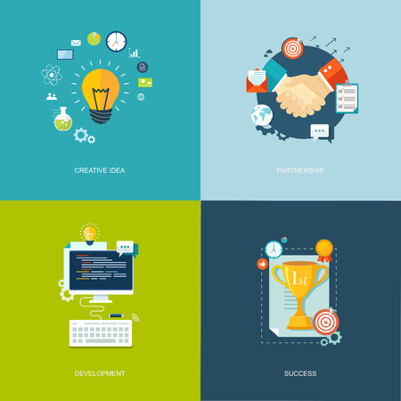 Flat banners set. Research, time management,partnership, success illustrations.