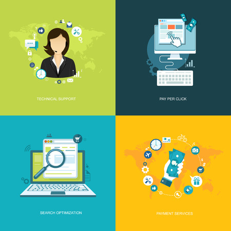 search optimization: Flat internet banners set. Online support, payment services, search optimization, pay per click illustrations.  Illustration