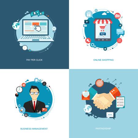Flat internet banners set. Team management, online shopping, partnership, pay per click illustrations.