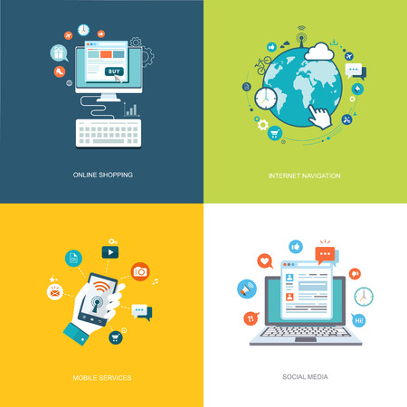 Flat internet technologies banners set. Social media, internet navigation, online shopping, mobile services illustrations.  Illustration