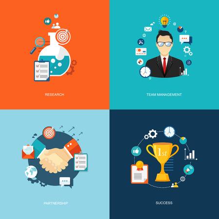 partner: Flat banners set. Research, time management,partnership, success illustrations.