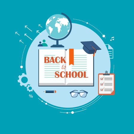 Back to school flat illustration. eps10