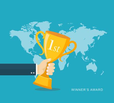 trophies: Hand holding winners trophy award flat illustration.