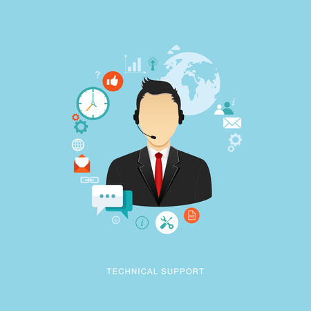 technical assistant: Flat design illustration with icons. Technical support assistant. eps8