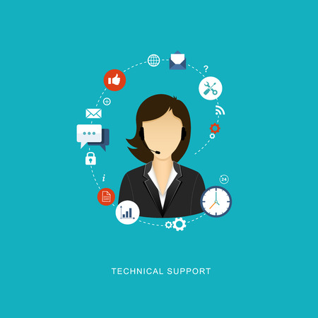 call center agent: Flat design illustration with icons. Technical support assistant. eps8