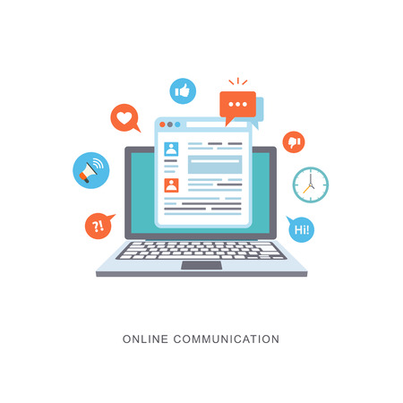 Communication illustration plat en ligne avec des icônes. eps8
