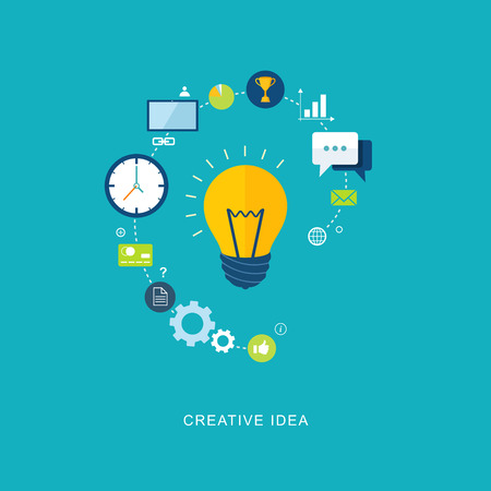 ideas problems: Creative idea flat illustration with bulb and icons. eps8
