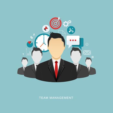 business leader: Team management flat illustration. eps10