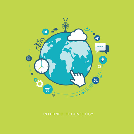 internet button: Internet technology flat illustration. eps8