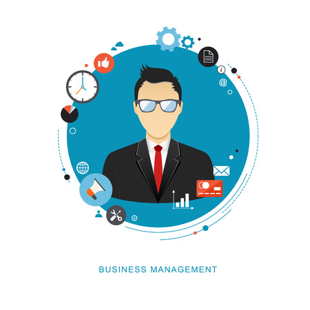 Business management concept flat illustration. Office man with icons. eps8 Stock Illustratie