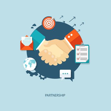 stretta di mano: Illustrazione piatta Partnership con le icone.