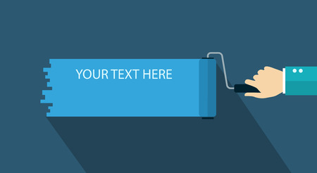 tinting: Flat design illustration set with text. Paint roller with hand.   Illustration