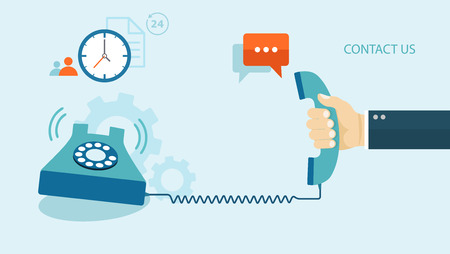 Flat illustration of contact us. Phone with icons.   Illustration