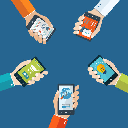 mobile communication: Mobile applications concept. Hand with phones flat illustration.