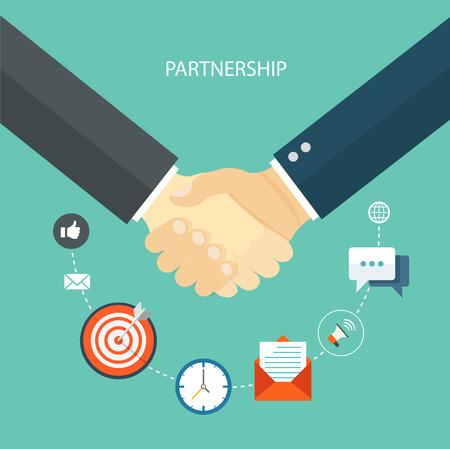 Partnership flat illustration with icons.