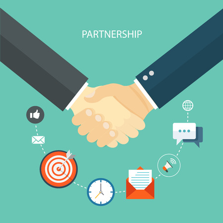 trust: Partnership flat illustration with icons.
