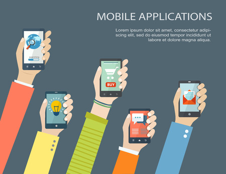 Mobile application concept. Hands holding phones. Eps10 Vettoriali