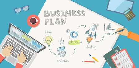 realization: Flat banner of bussiness plan in doodle style. Idea, anaytics, realization, start up, result.