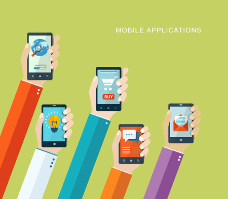 Mobiele toepassingen concept. Hand met telefoons platte illustratie.