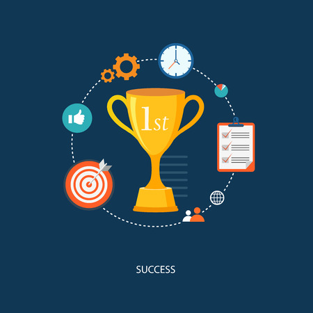 at first: Winners award with icons. Success illustration.