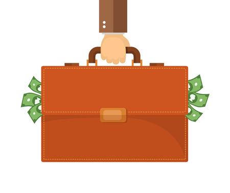 hand holding: Flat design illustration. Hand carrying briefcase.