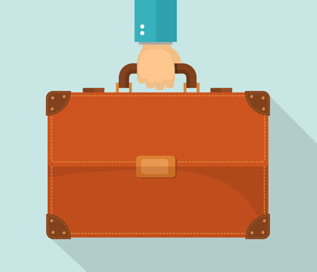 Flat design illustration. Hand carrying briefcase. Eps10