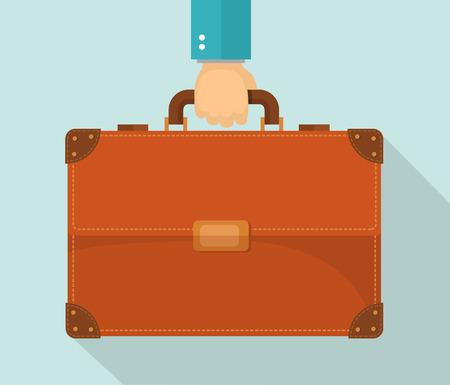 valigia: illustrazione Design piatto. Mano portando valigetta. eps10