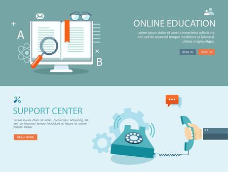 apoyo social: Ilustración Diseño plano de conjunto con iconos y texto. La educación en línea y un centro de apoyo. Vectores