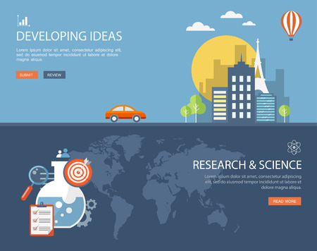bulding: Flat design illustration set with icons and text.Developing ideas and research.  Illustration