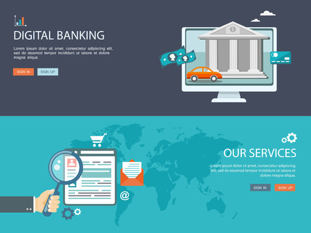 banking and finance: Flat design illustration set with icons and text.Digital banking and services.