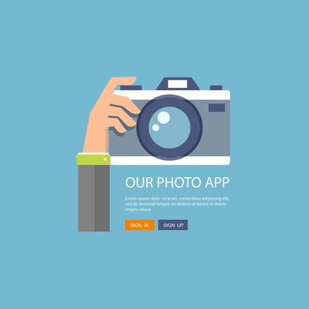 people  camera: Ilustraci�n plana de c�mara de fotos con la mano que lo sostiene. Vectores