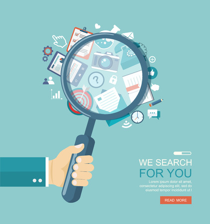 search engine optimization: Search engine flat illustration with magnifying glass