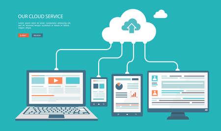 cloud: Cloud technology flat illustration.