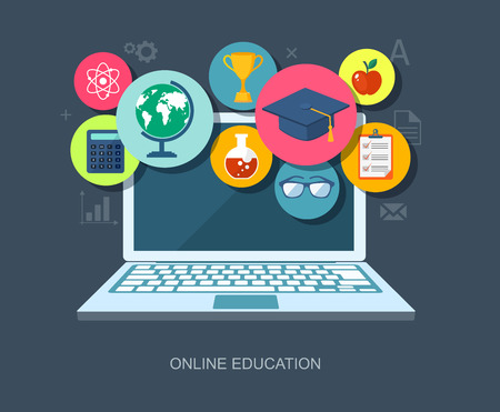 computer science: Online education flat illustration.