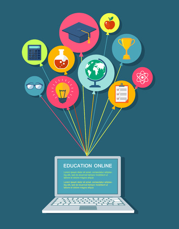internet education: Onlike education flat illustration.